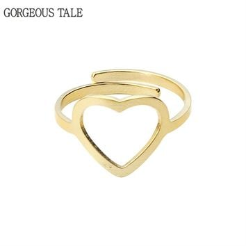 GORGEOUS TALE Open Stainless Steel Heart Ring For Women Jewelry Simple Engagement Rings 2017 Rose Gold Adjustable Bague Femme