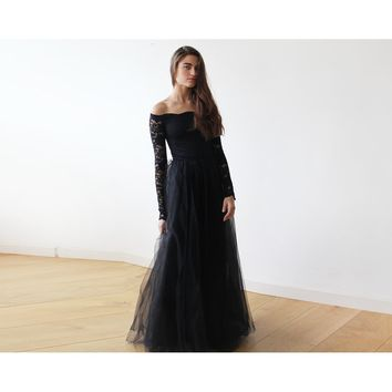 Black Off-The-Shoulder Lace and Tulle Maxi dress