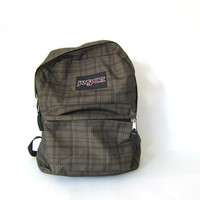 20% OFF SALE Vintage Backpack // green and black Jansport school bag