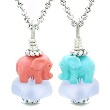 Icy Sea Glass Pastel Purple Cloud Pink and Celeste Lucky Elephants Love Couples BFF Set Amulet Necklaces