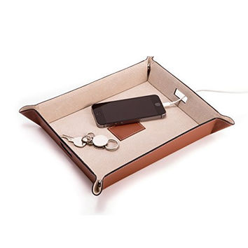 Bey Berk Large Saddle Brown Leather Snap Valet & Charging Station Tray