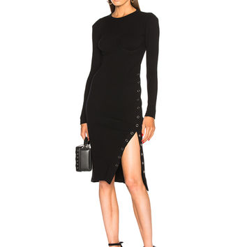 fleur du mal Knit Dress with Side Snaps in Black | FWRD