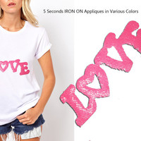 Iron On LOVE Patch Applique for DIY Crafts and Home Decor