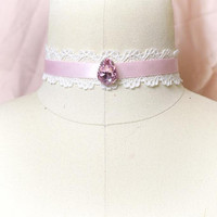 Choker Necklace Victorian Crystal  Rhinestone pink ivory lace choker Jewelry Handmade Pastel Gothic goth Witch Wicked Lolita steampunk