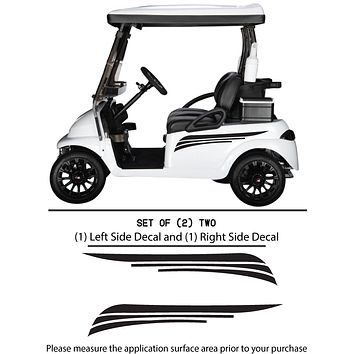 Golf Cart Vinyl Graphic Decals, Set of (2) TWO - STYLE S001