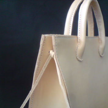 SALE   40  .   natural leather bag tote bag by by GENATI on Etsy