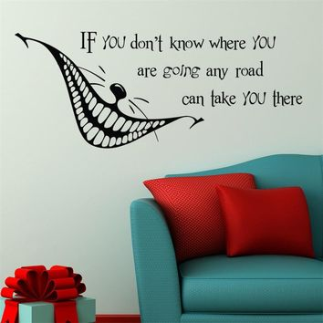 Alice in Wonderland Quote Wall Decal Vinyl Sticker Cheshire Cat Nursery Kids Bedroom Home House Livingroom Decoration
