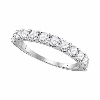 14kt White Gold Womens Round Pave-set Diamond Wedding Band Ring 1.00 Cttw