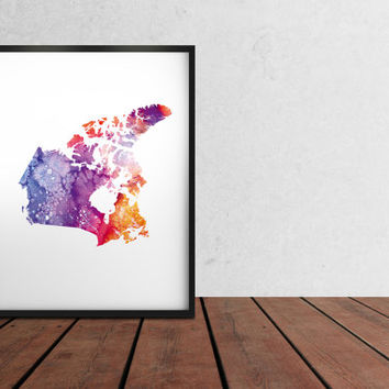 Watercolor art print Canada Map poster Colorful decor