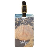 California sandy beach seashell photo custom name luggage tag