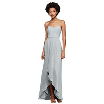 David's Bridal Strapless Bridesmaid Dress With High-Low Hem Style F19262