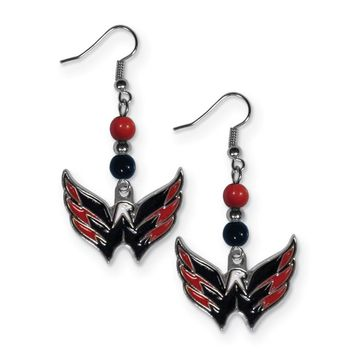 Nhl Washington Capitals Fan Bead Dangle Earrings