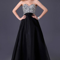Strapless Sequined Beaded Prom Dress