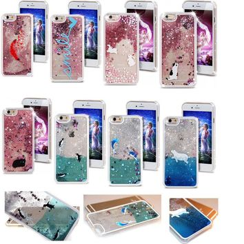 Cat Bear Fish Glitter Star Liquid Quicksand Hard Phone Case Cover For iPhone 6 6S Plus 7 Plus For Samsung S5 S6 Edge Note5 Note4
