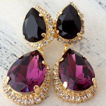 Purple amethyst black crystal earrings, Chandelier earring, Drop earring, Dangle earring, Bridal earring, Bridesmaids gifts, Gold or silver