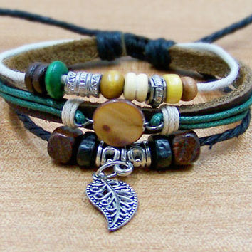 personalized leather bracelets wristband for men women Surfer Cuff Leather Rope Bracelet wooden Bead Metal leaf with green Cotton Rope a32