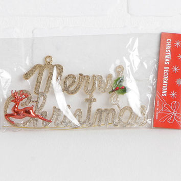 Vintage Gold Plastic 70s Merry Christmas Sign or Ornament with Reindeer and Holly and Thin Metal Hanging Wire