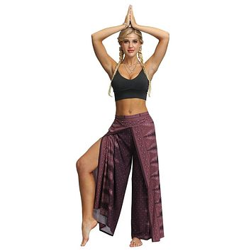 Yoga Pants Women Casual Loose Hippy Yoga Thai Harem Lady Trousers Smock Waist Boho Festival Hippy Yoga Rayon Running Fitness#g4