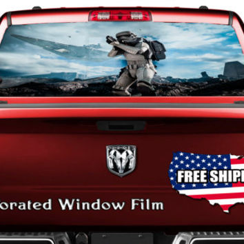Storm Trooper Soldier Space Battle Full Color Print Perforated Film Truck SUV Back Window Sticker Perf006