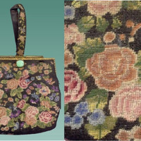 Antique VICTORIAN Roses PETIT Point Hand Bag Wristlet Purse with JADE Clasp & Frame Accents Vintage Edwardian Tapestry HandBag  Top Handle