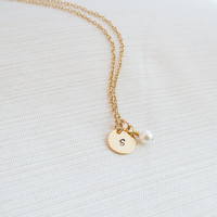Initial and Pearl Necklace, Initial Jewelry, Gold Plated Disc Necklace, Gold plated Necklace,  Bridesmaid Gift
