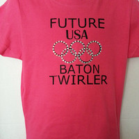 Future USA Baton Twirler  - Princess Crew Neck T-Shirt - Child and Junior - Baton, Twirling, Majorette, Twirler