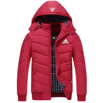 ADIDAS 2018 autumn and winter new plus velvet warm hooded cardigan down jacket Red
