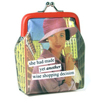 She Had Made Yet Another Wise Shopping Decision Coin Purse - Unique Vintage - Prom dresses, retro dresses, retro swimsuits.