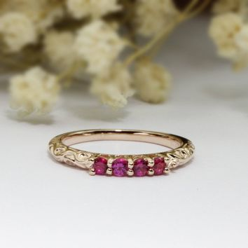 Natural Ruby Red Gemstone 4 Stones Vintage Filigree Accents 14k Rose Gold Wedding Band Ring (CFXR0004B)