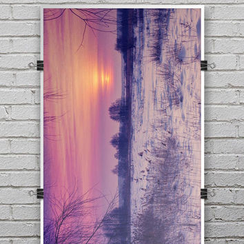 Calm Snowy Sunset - Ultra Rich Poster Print