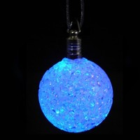 LED Crystal Ball Necklace : Light Up Rave Accessories