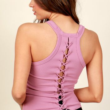 Lace Workout Lace Up Cami Mauve