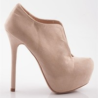 High Heel Platform Booties - Nude