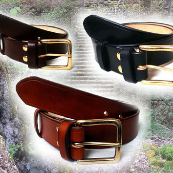 "Men leather belt, 1 1/4"" wide, solid brass buckle, made  to order, in black, brown or tan"