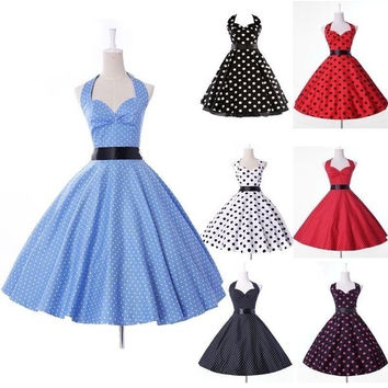 Grace Karin Women Cotton Polka Dots 50s 60s Retro Vintage Rockabilly Swing Pinup Evening Prom Dress = 5659328961