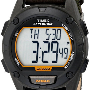 Timex Men's T499479J Expedition Stainless Steel Digital Watch with Green Nylo...