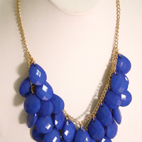 Royal Blue Teardrop Bib Necklace Set