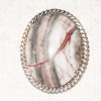 Polished Striped Agate Brooch/Pin German Silver Gemstone Cameo Brooch Twisted Rope Stone Brooch Braided Silver Brooch Jewelr...