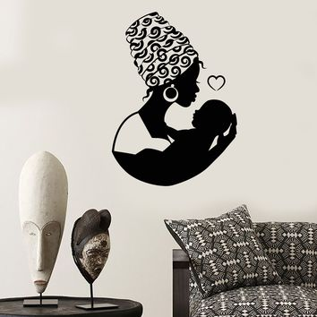 Vinyl Wall Decal African Native Woman Turban Mother With Baby Stickers (2151ig)