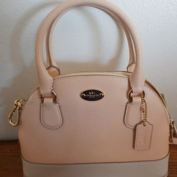 NWT Coach Mini Cora Domed Satchel BiColor Crossgrain Leather Apricot F34517