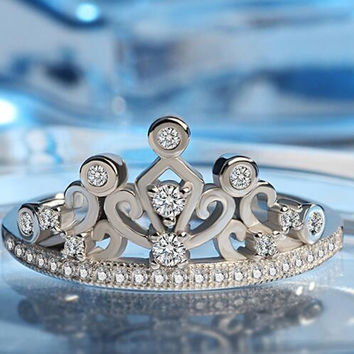 Crown Ring GP Princess Royal Queen Party Jewelry for Female