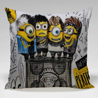 litle minions as 5 sos Square Pillow Case Custom Zippered Pillow Case one side and two side