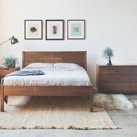 Solid Walnut Bed Frame And Headboard   Available In Other Woods