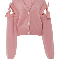 Bow-Embellished Cotton-Blend Cardigan | Moda Operandi