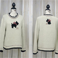 Scottish Terrier sweater / size L XL Oversized Scotty Terrier dog knit sweater / hand embroidered / Christopher and  Banks