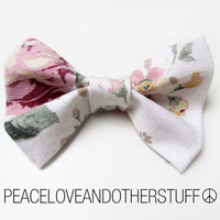Handmade Vintage Floral Hair Bow by PeaceLoveAndOtherStuff