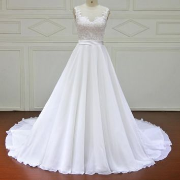 New Design A-Line Lace Wedding Dresses Sweetheart Lace Up Back Vintage Wedding Gowns