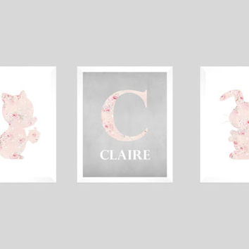 Squirrel and Bunny Shabby Chic Pink Roses Gray Chalk Monogram CUSTOMIZE YOUR COLORS 8x10 Prints, Nursery Decor Print Kids Art Baby Room Girl
