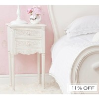 Provencal Pretty White Bedside Table | Bedside Table