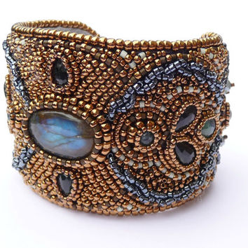 Labradorite Bead Embroidered Bronze Cuff Bracelet - Beaded Gemstone Wide Cuff - Bronze Gold OOAK Statement Bracelet